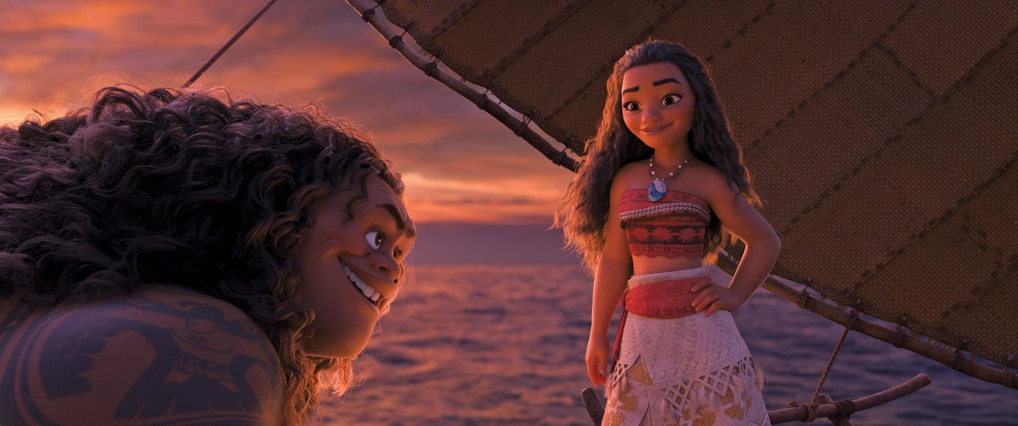 MOANA, from left, Maui (voice: Dwayne Johnson), Moana (voice: Auli'i Cravalho), 2016.  Walt Disney Studios Motion Pictures / courtesy Everett Collection