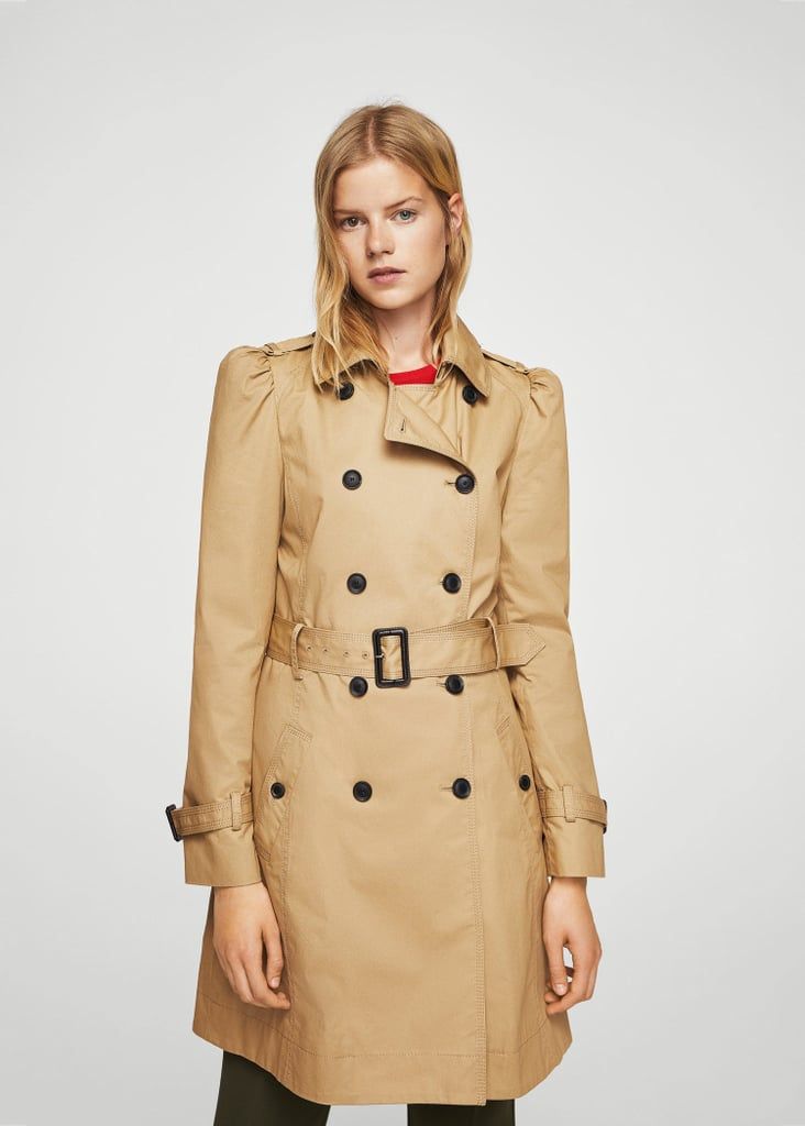 Mango Puffed-shoulder trench