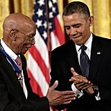 President Obama awarded Hall of Fame baseball player Ernie Banks with a medal.