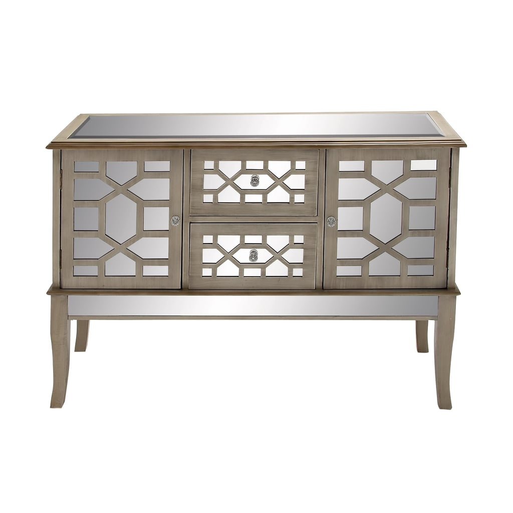 Decmode Contemporary Rectangular Textured White & Mirrored Chest With Geometric Design
