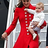 Kate Arriving in New Zealand With George, 2014
