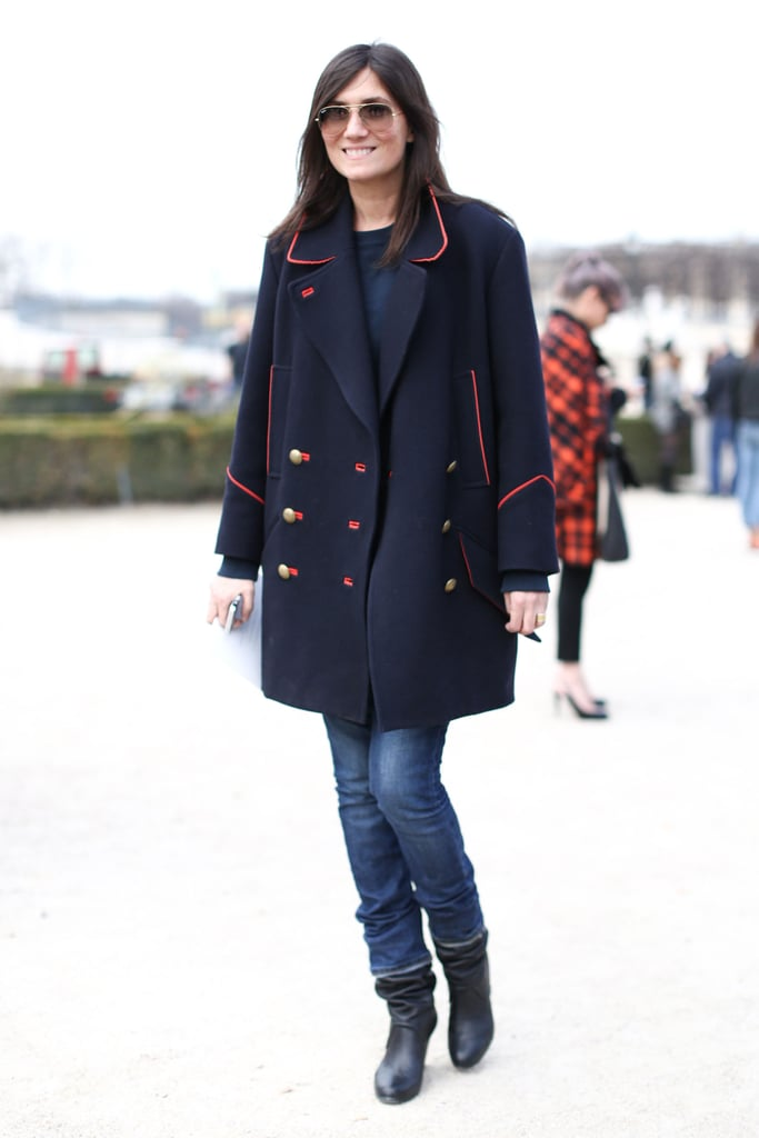 Emmanuelle Alt didn't need more than a classic military-inspired coat, denim, and boots to catch our eye outside the shows.