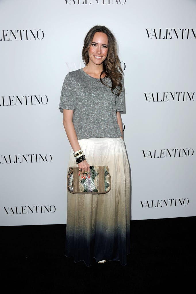 Louise Roe wore a maxi skirt to Valentino s 50th anniversary party in LA. 6320cb9f8