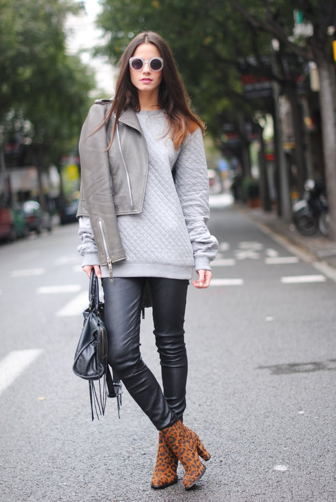 Shades of gray feel all the more noteworthy against leather pants and leopard-print booties. Source: Lookbook.nu
