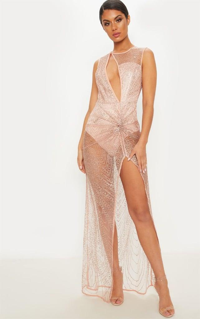 714167f356c Kim Kardashian Sheer Dress With Crystals December 2018