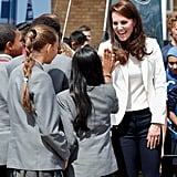 She high-fived a school girl at the 1851 Trust Roadshow in June 2017.