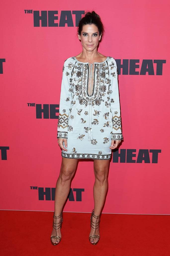 Sandra Bullock stepped out in a perfect-for-Summer embellished tunic dress and strappy heels at the premiere of The Heat in Sydney.