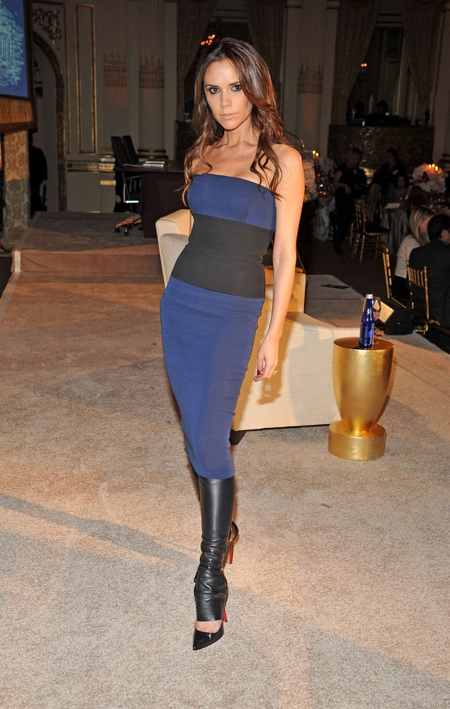 Victoria Beckham wore a dress from her Spring/Summer 2012 line.