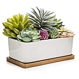 MyGift Potted Artificial Succulents in Ceramic Pot with Bamboo Tray