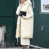 Winter Outfit Idea: A White Puffer to Match a White Knit Dress