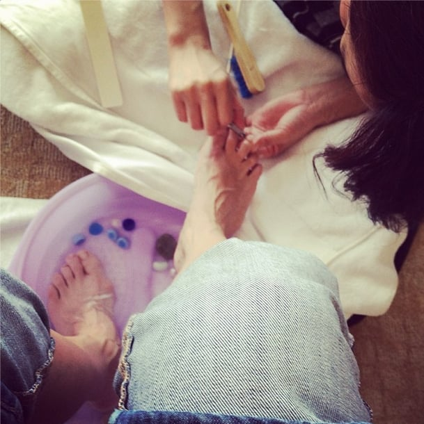 Golden Globes prep started with a pedicure for Julia Louis-Dreyfus. Source: Instagram user officialjld