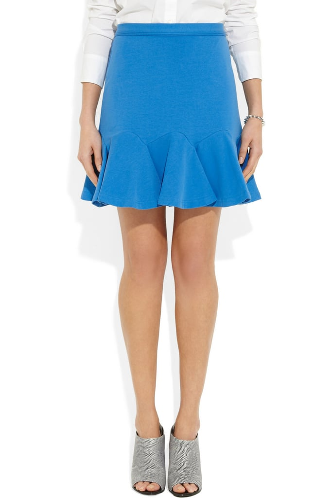 We love the bold cobalt hue on Carven's flared stretch-cotton miniskirt ($275).