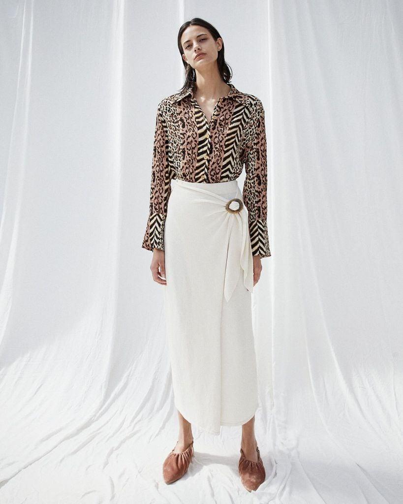 Nanushka Sasha Terry Knit Wrap Skirt