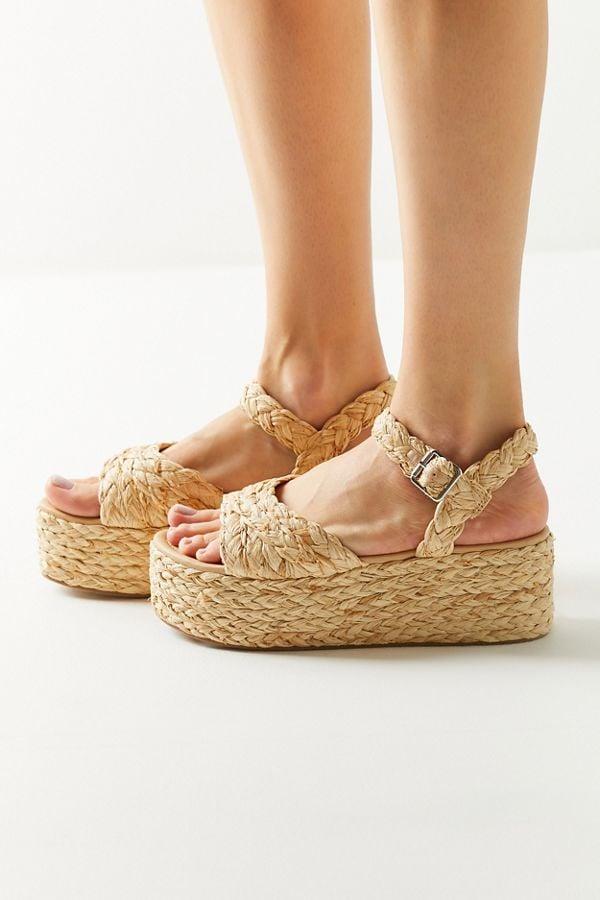 UO Rosalie Raffia Platform Sandal