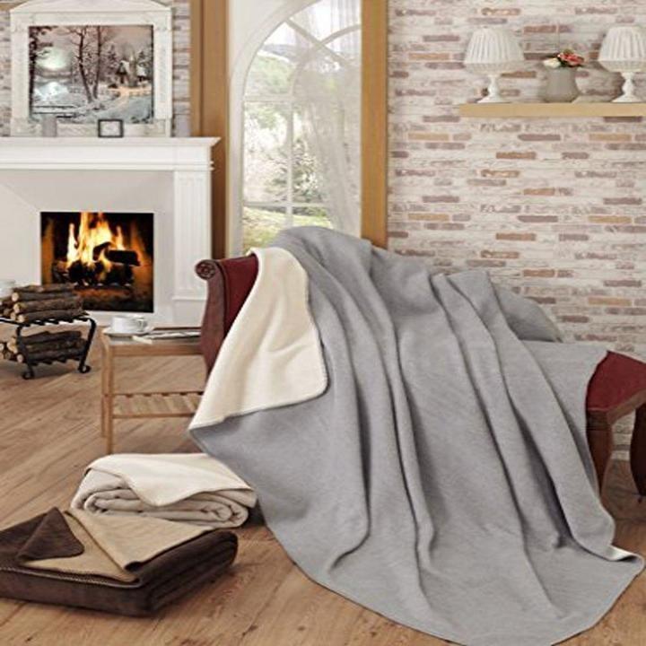 Ottomanson Gray and Ivory Reversible Soft Cotton Cozy Fleece Blanket ($20)