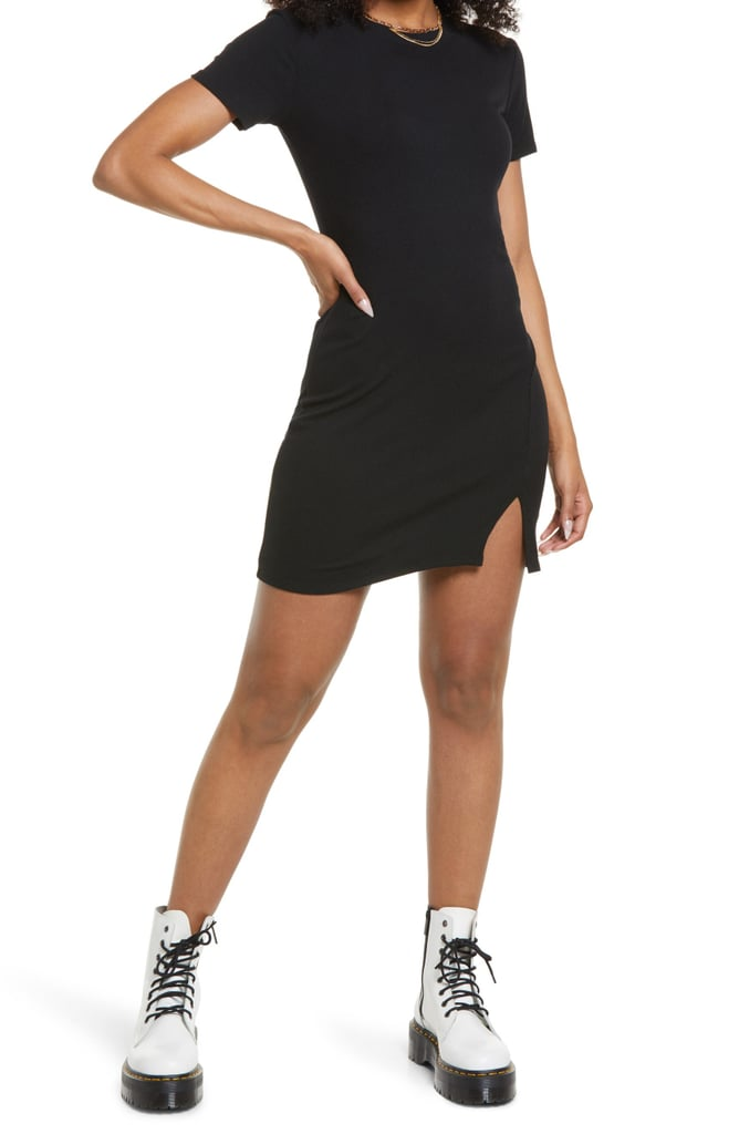 The Flattering Find: BP. Front Slit Rib T-Shirt Dress