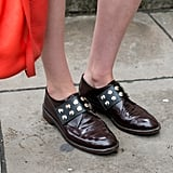 Studded brogues have a tough-girl vibe.