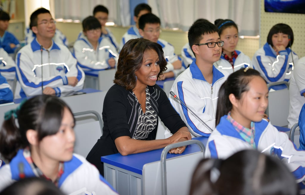 Michelle Obama joined students in their classroom at a Chengdu high school.