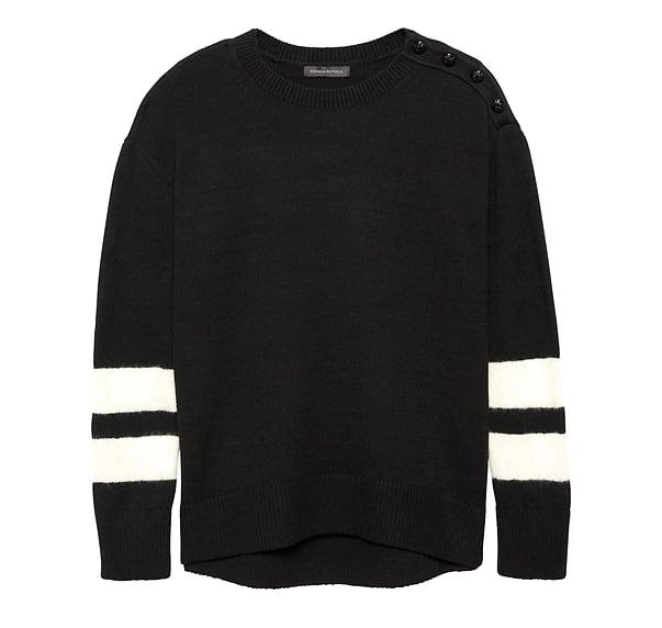 Button-Shoulder Stripe-Sleeve Sweater