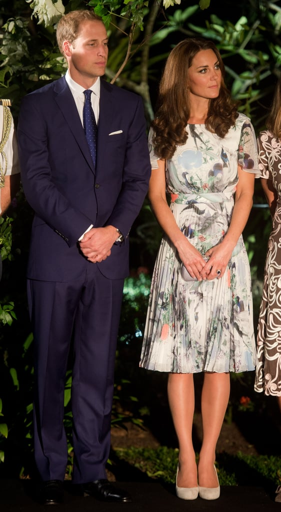 Kate Middleton wore a floral printed gown with Prince William at a dinner party in Singapore.