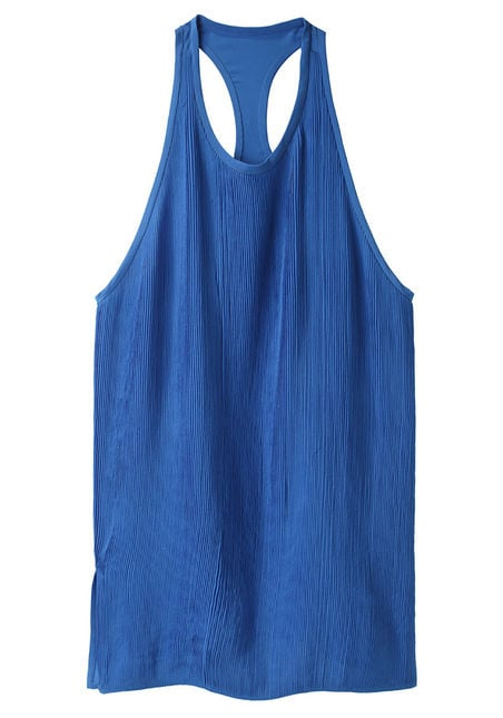 Wear this wispy blue tank with a pair of crisp white jeans.  3.1 Phillip Lim Pintuck Racerback Tank ($425)