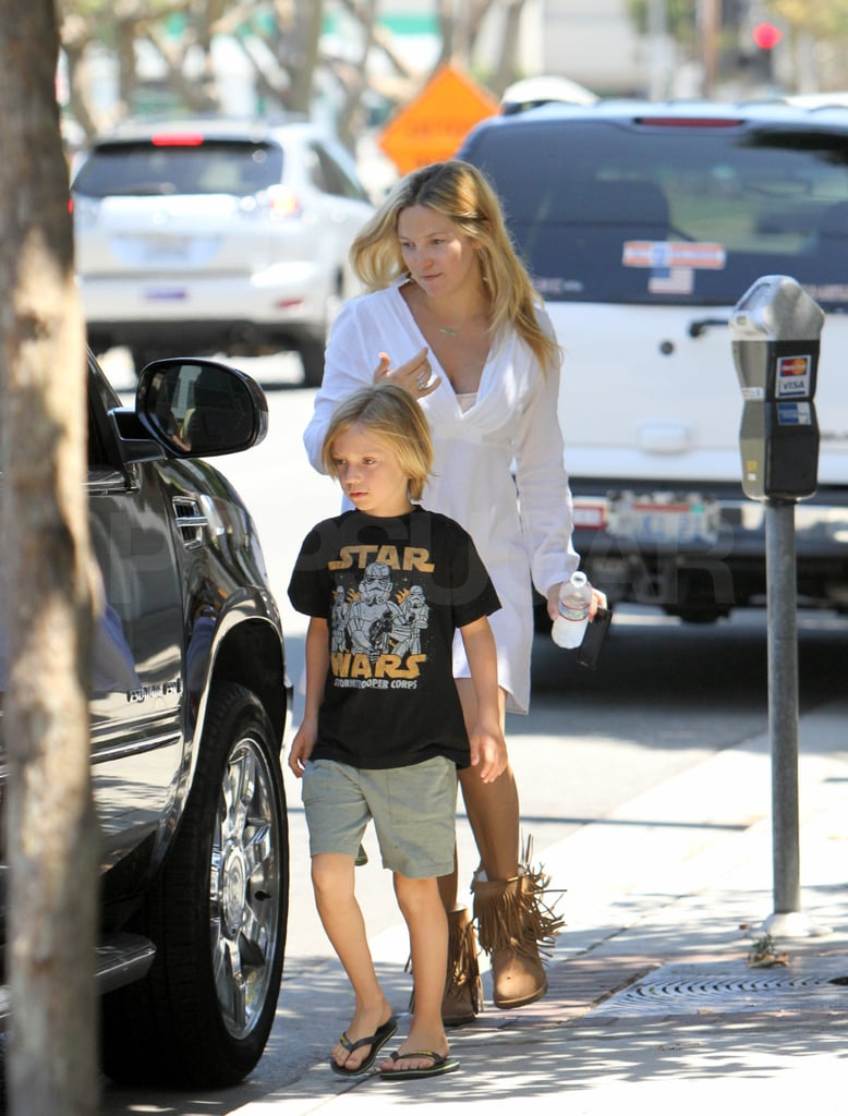 """Kate Hudson and Matthew Bellamy left baby Bing at home this morning and treated big brother Ryder Robinson to brunch in Brentwood. It was a makeup-free outing for Kate and her guys, but on Friday she caught up with her close friends during a girls' only lunch in Santa Monica. Matt's back at home with his fiancée, Ryder, and infant son following a co-headlining gig at Friday night's Lollapalooza festival in Chicago. Matt and his Muse band mates joined Chris Martin and Coldplay for an old-fashioned battle of the bands inside Grant Park. Concert goers were forced to choose between the two Brit bands, who rocked out simultaneously at opposite ends of the venue, Matt even acknowledged the Muse vs. Coldplay competition, saying, """"We know you had options [tonight] . . . and you picked the right one."""" Muse moves to San Francisco on Saturday where they're headlining their next Summer music festival Outside Lands."""
