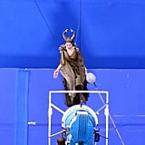 Angelina Jolie got into costume for Maleficent.