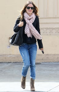 Pictures of Rachel Bilson in a Boyfriend Blazer, Jeans, and Spotted Scarf