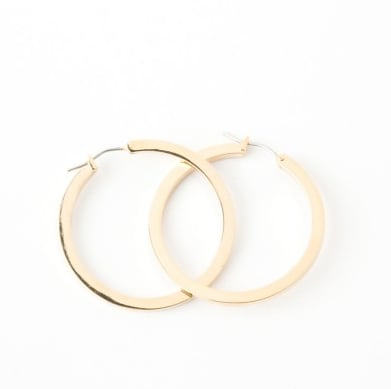Gold hoops like these are a classic — you'll wear them with everything.  Lori's Shoes Thick Polished Hoops ($15)