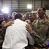 When he hugged troops at the Bagram Airfield in Afghanistan
