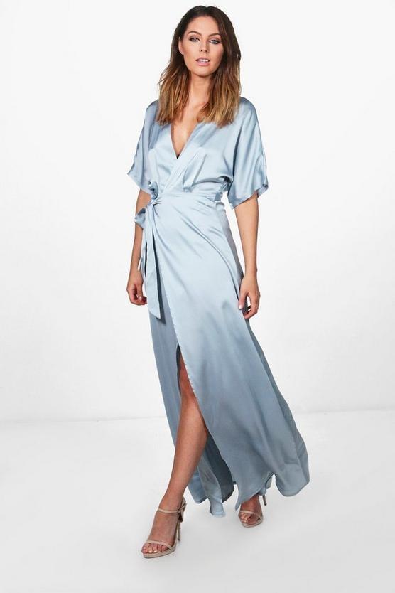 Boohoo Satin Kimono Maxi Dress