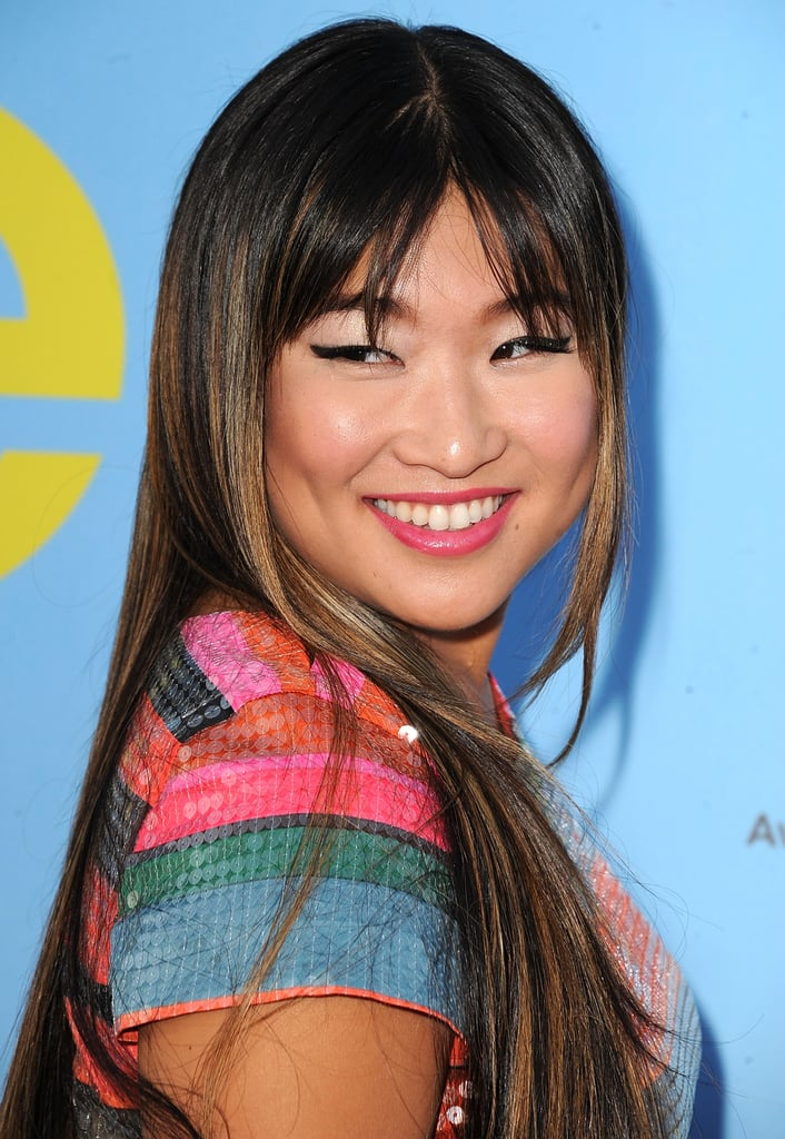 Jenna Ushkowitz lit up the carpet in a brightly coloured dress.