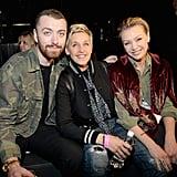 Pictured: Ellen DeGeneres, Portia de Rossi, and Sam Smith