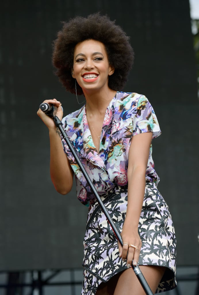 Solange flashed a big smile while performing at the Made in America Festival.