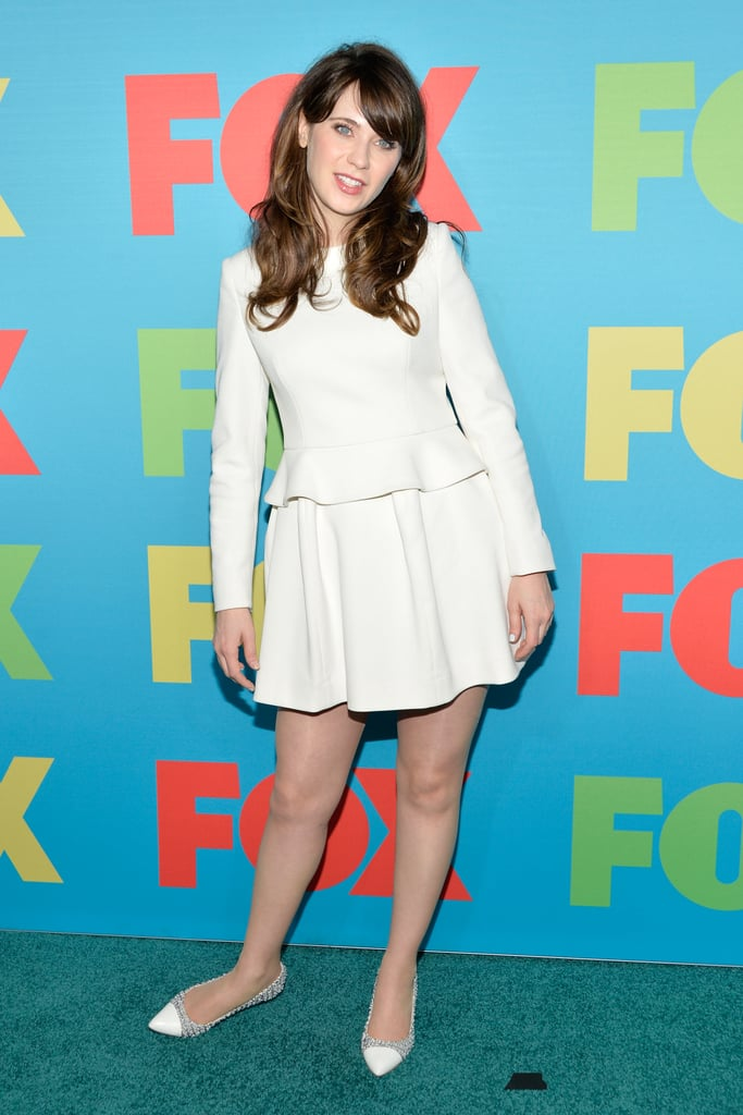 It was all-white everything for Zooey at the FOX Fanfront. This look is so simple, structured, and superfeminine.