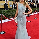 Katrina Bowden stunned in a structured icy blue Badgley Mischka confection with perfect curls and au naturel makeup.