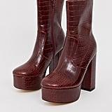 Truffle Collection Platform Block Heel Boot in Red Croc