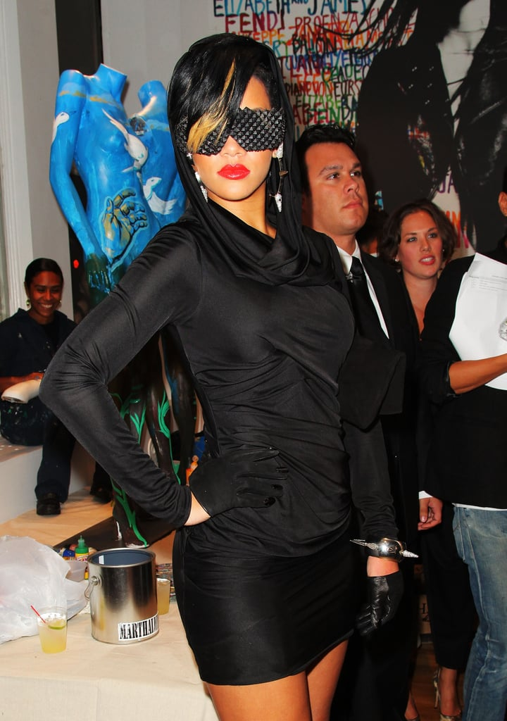 Rihanna looked bold in black (and red lipstick) during the 2009 celebrations.