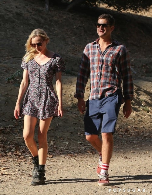 Leave it to Diane Kruger to look cool even while hiking. The actress paired this Lucca Couture floral romper ($59) with motorcycle boots while walking with boyfriend Joshua Jackson in the LA hills.