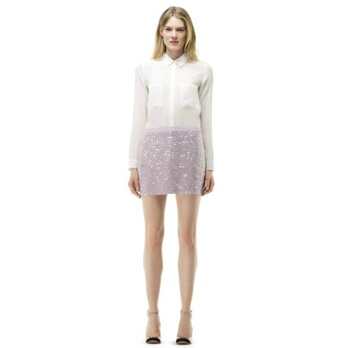 With just a few accessory swaps, Club Monaco's shimmery pastel Jacklyn skirt ($170) can easily take you from day to night.