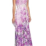 Badgley Mischka Floral-Print Crepe Gown