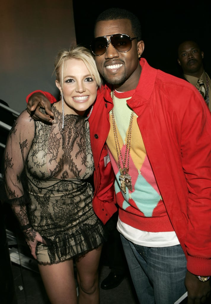Britney Spears and Kanye West buddied up in 2004.