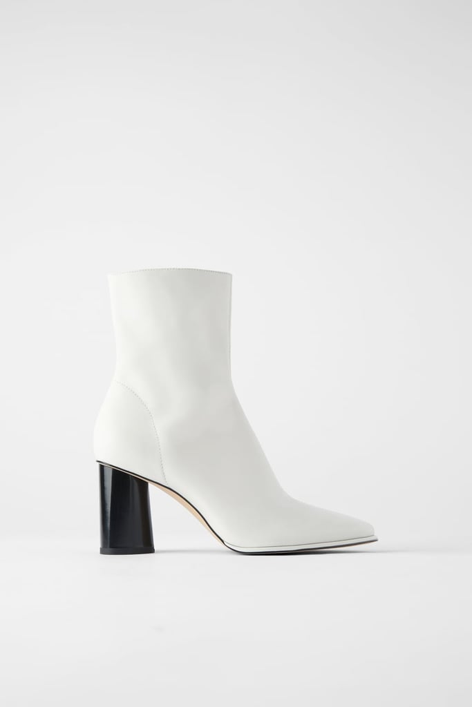 Zara Leather Heeled Ankle Boots With Piped Trim