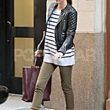Miranda Kerr enjoyed the warm fall weather in a light jacket.