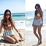 Instead of the usual sarong, try out a pair of striped shorts as a beach cover-up.  Photo courtesy of lookbook.nu
