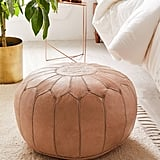 Traditional Leather Floor Pouf