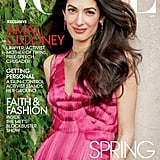 Amal wearing an Alexander McQueen top and Cartier earrings on the May 2018 Vogue cover.