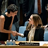 Angelina Jolie shook hands while visiting the UN's NYC headquarters.