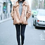 Style Your Boots With Skinny Jeans, a Turtleneck, and a Fuzzy Jacket