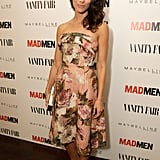 At the Vanity Fair and Maybelline pre-Emmys party in hono-r of Mad Men, Abigail Spencer's strapless dress featured a vintage-inspired floral print.